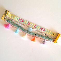 Bracelet Multirangs pastel pompons perles Chips et Miyuki