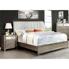 Furniture of America Lilliane 2 Piece Queen  Sleigh Bedroom Set in Silver