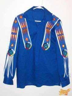 This is a shirt I made for my dad this past spring., View and post pictures or join a forum conversation on our Native American culture gathering page. Native American Dress, Native American Regalia, Native American Design, Native American Beading, Native American Fashion, Native Fashion, Dad To Be Shirts, Work Shirts, Ribbon Skirts