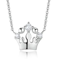 """Material: Sterling Silver. Cubic Zirconia.<br>Pendant: 0.47""""*0.47""""<br>18"""" Silver Chain. Spring Ring Clasps.<br>Weight: 0.09Oz.<br>Free Black Jewelry Pouch.<br><br>Original Jewelry Brand.<br>Packeted With Black Jewelry Pouch.<br>Surprise Gift For Girlfriend Lover On Birthday Christmas Wedding Vale..."""