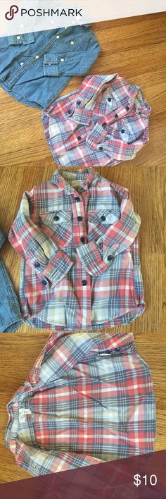 Jcrew Crewcute Bundle of Boys Sz 2t button downs Jcrew Crewcuts boys size 2t bundle. First is plaid button down, small stain on front will probably come out. Second is chambray button down. J. Crew Shirts & Tops Button Down Shirts