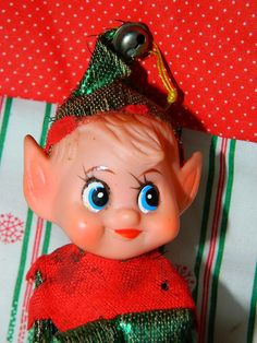 Vintage Christmas Elf Pixie Gnome Green Hat Elf by TheIDconnection