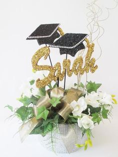 Graduation Centerpieces – Designs by Ginny Graduation Party Foods, Graduation Party Centerpieces, College Graduation Parties, Graduation Cap Decoration, Graduation Invitations, Grad Parties, Mardi Gras Centerpieces, Table Centerpieces, Graduation Flowers