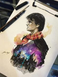 Harry Potter with the Gryffindor Scarf and Hogwarts. - tattoo crafts Harry Potter with the Gryffindor Scarf and Hogwarts Harry Potter Tumblr, Harry Potter Anime, Harry Potter Tattoos, Harry Potter Fan Art, Memes Do Harry Potter, Magia Harry Potter, Harry Potter Bricolage, Fans D'harry Potter, Harry Potter Painting