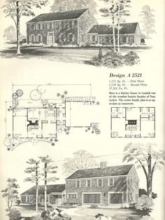 Vintage House Plans, Early Colonial  DESIGN A 2521
