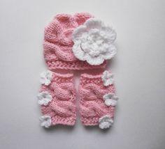 SET Baby Girl Hat and Leg WarmersNewborn Baby Girl by KnittingLand, $29.50