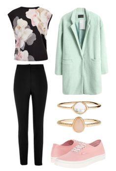 Floral shirt, mint coat, black pants, gold rings, pink shoes