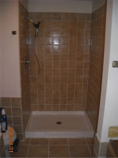 Tiled shower stall | Completed tile shower stall