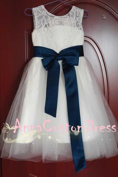 Ankle-length Ivory Lace Tulle Flower Girl Dress with Navy Blue Sash