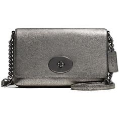 COACH Crosstown Metallic Pebbled Leather Crossbody Bag ($140) ❤ liked on Polyvore featuring bags, handbags, shoulder bags, purses, apparel & accessories, gunmetal, shoulder handbags, chain strap purse, handbags shoulder bags and cross-body handbag