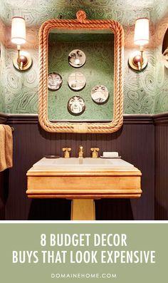 8 Budget Decor Buys That Look Really Expensive // bathroom, nautical, rope mirror, malachite wallpaper, Nate Berkus