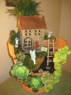 my first fairy garden, container gardening, gardening, home decor