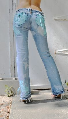 Painted jeans for women and girls. Corset jeans.