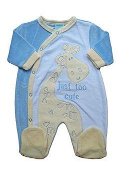 Baby boys blue velour giraffe sleepsuit babygrow (0-3 MONTHS) 277a511a70a2