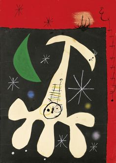 Joan Miró Personnage et oiseau dans la nuit II December watercolour, pen and ink, pastel and collage on paper 78 x 56 cm Spanish Painters, Spanish Artists, Picasso, Musée National D'art Moderne, Joan Miro Paintings, Skulls And Roses, Modern Art, Abstract Art, Tapestry