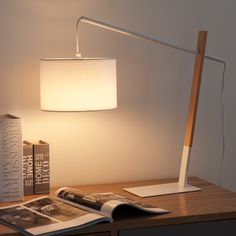 MIDTOWN metal and wood lamp in white ...