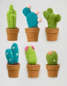 Paperchase Christmas Felt Cactus Decorations