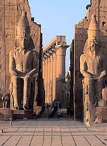 art and architecture The outer court of the Temple of Luxor in Thebes, Egypt, with giant statues of King Ramses II.The outer court of the Temple of Luxor in Thebes, Egypt, with giant statues of King Ramses II. Places Around The World, Oh The Places You'll Go, Places To Travel, Places To Visit, Around The Worlds, Ancient Ruins, Ancient Egypt, Ancient History, Art History