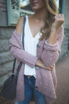 Free People Boucle Cadi Sweater - LOVE the simple and clean combo of delicate bright cami with comfy slouchy cardigan!!