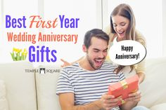 Awesome First Year Wedding Anniversary Gifts for Him! These are the best ideas, like first dance song music sheet, going back to your honeymoon location, cuff links made out of your wedding invitation, recreating your wedding menu, making a first year scrapbook and more. Check it out on the blog! | Anniversary Gifts | First Year Anniversary Ideas | Celebrate | Present | www.templesquare.com/weddings/blog
