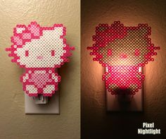 Hello Kitty Custom Trim Color   Hello Kitty Inspired   Nightlight perler beads by PixelNightlight