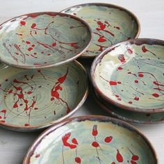 This listing is for the set of six side plates shown. These handmade plates were thrown and trimmed on my potters wheel using a white stoneware clay.