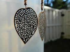 Copper Colored Filigree Leaf Earrings by NativePrideCreations, $4.99