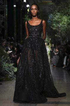 Strapless black full length sequin evening gown by Elie Saab Couture Spring Summer 2015 Paris - NOWFASHION