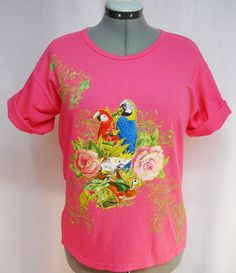 Check out this lovely Summer Women's Tee Shirt Custom Paint Stamping and Fabric #Applique by paulagsell, $28.00