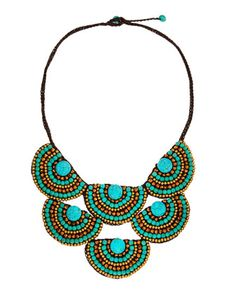 Beaded-Rope Bib Necklace, Turquoise by Panacea at Neiman Marcus.