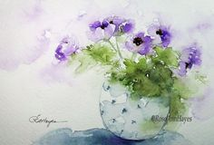 Purple Flowers in Blue Vase Watercolor Painting by RoseAnn Hayes, prints are available in Etsy shop, floral, bouquet, anemones
