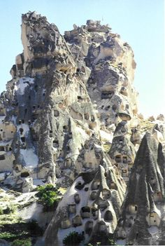 Houses carved into the mountain, Cappadocia, Turkey