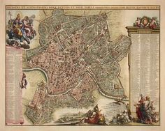 "ISN'T IT ROMAN-TIC: In 1676, Giovanni Battista Falda produced a gigantic 12-sheet map of Rome, richly detailed with bird's-eye views of its principal buildings, landmarks, streets, piazzas, gardens and houses. This smaller version (about 20"" x 25""), was published c. 1694-99 in Holland as part of ""Thesaurus Antiquitatum Romanarum,"" a magnificent compendium of engravings, maps and illustrations of ancient Rome."