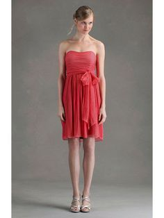 Crinkle Chiffon Slight Sweetheart delicately Ruched Bodice A-line bridesmaid Dress
