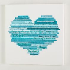 PB Teen Graphic Quotes Wall Art, 24''x24'', White/Pool at Pottery Barn... ($149) ❤ liked on Polyvore featuring home, home decor, wall art, graphic wall art, white home accessories, quote canvas wall art, pbteen and typography wall art