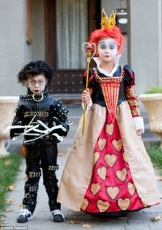 Edward Scissorhands and The Red Queen from Alice in Wonderland