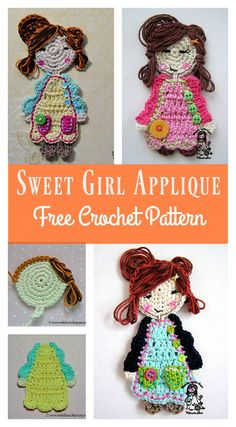 Sweet Girl Applique - Crochet Pattern gratuit This Sweet Girl Applique Free Crochet Pattern has unique design with little pockets, buttons and bright combination of colors. Crochet Applique Patterns Free, Crochet Motifs, Crochet Appliques, Felt Patterns, Crochet Amigurumi, Crochet Bear, Crochet Crafts, Crochet Projects, Motifs D'appliques