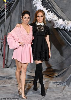 Leggy ladies: Jennifer Lopez (R) and Vanessa Hudgens (L) donned mini-dresses for a promo event for their upcoming film Second Act at the Four Seasons Hotel Los Angeles on Sunday Vanessa Hudgens Legs, Estilo Vanessa Hudgens, J Lo Fashion, Jennifer Lopez Photos, Valentino, Kris Jenner, Babydoll Dress, Rita Ora, Sexy Hot Girls