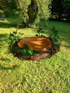 Bird bath bird feeder clay saucer birdfeeder by SageSensations