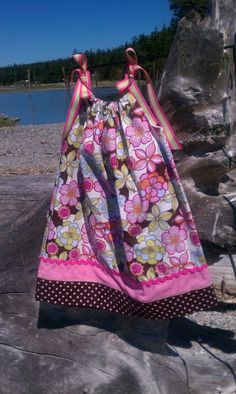Items similar to Mod Pink and Brown Pillow Case Dress with Polka Dot trim - size 3 to on Etsy Brown Pillow Cases, Brown Pillows, Polka Dots, Summer Dresses, Sewing, Trending Outfits, Skirts, Pink, Etsy