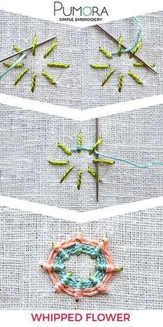 Chicoteado flor bordado tutorial