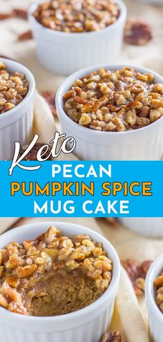 Pecan Pumpkin Spice Keto Mug Cake (Low Carb, Sugar Free, Grain Free) – Sugarless Crystals Easy keto mug cake made with coconut flour. Pumpkin spice recipe mix of each low carb flourless cake. A moist 90 second cake from the microwave. Mug Cake Low Carb, Keto Mug Cake, Low Carb Sweets, Low Carb Desserts, Low Carb Recipes, Diabetic Recipes, Vegetarian Recipes, Mug Recipes, Pumpkin Recipes