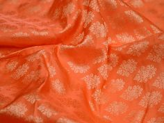 Sewing Crafting Orange Jacquard Brocade Fabric By The Yard | Etsy