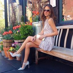Arielle Nachmani of Something Navy wearing the Monica Rose for L+F Somerset Romper