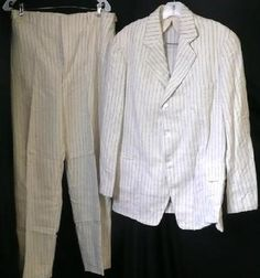 ORIG VTG 1910ish EDWARDIAN MENS SUMMER CREAM NAVY PINSTRIPE WOOL 2PC SACK SUIT $350