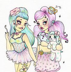 Best Friends original illustration by Rudy Fig, kawaii, pop art, whimsical…