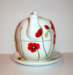 Pintado a mano amapola té para una taza del pote de té y 3 pieza juego de té para uno de plato amapolas o Cherry Blossoms, zumbido pájaros u