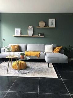 30 Awesome Summer Apartment Decor Ideas And Makeover. If you are looking for Summer Apartment Decor Ideas And Makeover, You come to the right place. Below are the Summer Apartment Decor Ideas And Mak. Sage Living Room, Mustard Living Rooms, Living Room Modern, Living Room Designs, Small Living, Green Living Room Walls, Living Room Yellow Accents, Living Room Decor Grey Couch, Living Room Drapes