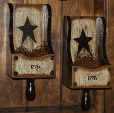 Country Farm House, Primitive Star Sugar Scoop Candle Sconce (tons of pics) Country Crafts, Country Farm, Country Primitive, Country Decor, Rustic Decor, Farmhouse Decor, Prim Decor, Primitive Stars, Primitive Crafts