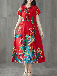 Frog Button Print Short Sleeve O-neck Vintage Dresses is high-quality, see other cheap summer dresses on NewChic. Lovely Dresses, Day Dresses, Vintage Dresses, Casual Dresses, Cheap Summer Dresses, Modest Outfits, Printed Shorts, Vintage Fashion, Short Sleeve Dresses